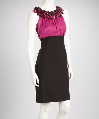 Fuchsia & Black Color Block Rosette Sleeveless Dress