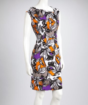 Purple & Orange Leaves Rosette Cap-Sleeve Dress - Women