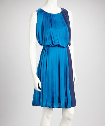 Dark & Light Blue Color Block Pleated Sleeveless Dress