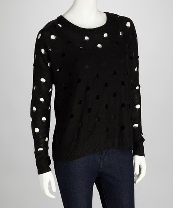 Black Cutout Polka Dot Karla Sweater