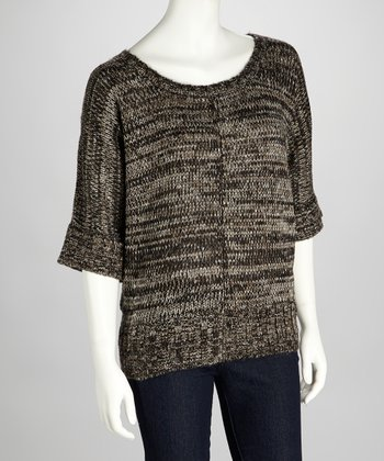 Gray & Black Kaylee Cape-Sleeve Sweater