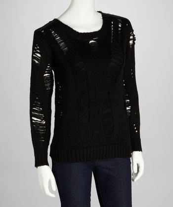 Black Distressed Megan Sweater