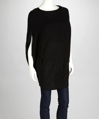 Black Kristal Cape-Sleeve Top