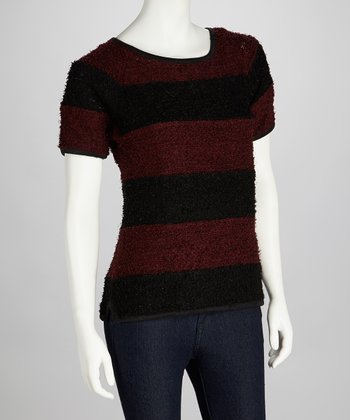 Red & Black Stripe Rita Short-Sleeve Sweater