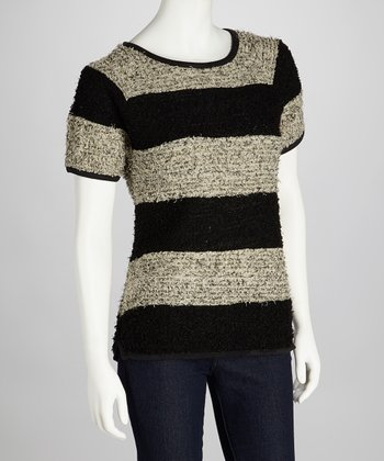 Cream & Black Stripe Rita Short-Sleeve Sweater