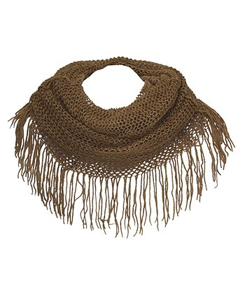 Brown Mesh Fringe Scarf