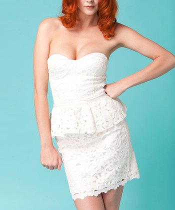 White Lace Francie Peplum Dress
