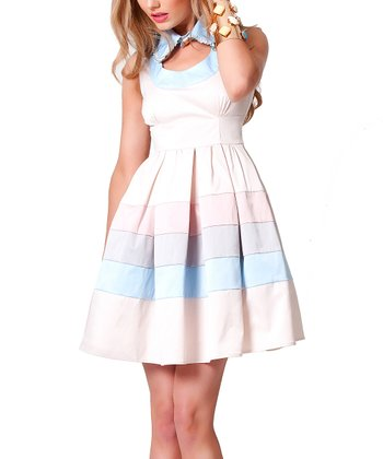 Cream & Blue Satin Dahlia A-Line Dress