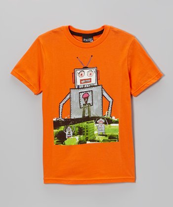 Orange & Gray Robot Kid Creature Tee - Toddler & Boys