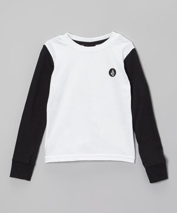 White & Black Raglan Tee - Toddler & Boys
