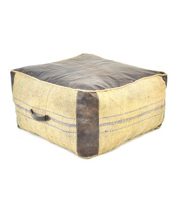 Leather & Jute Large Cube Pillow