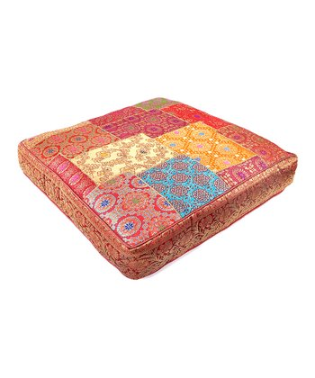 Red Medium Patchwork Square Silk Floor Pillow