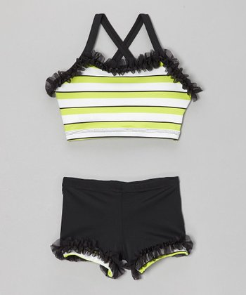 Black & Neon Green Ruffle Crop Top & Shorts - Girls