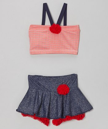 Red Gingham Crop Top & Ruffle Skirt - Girls
