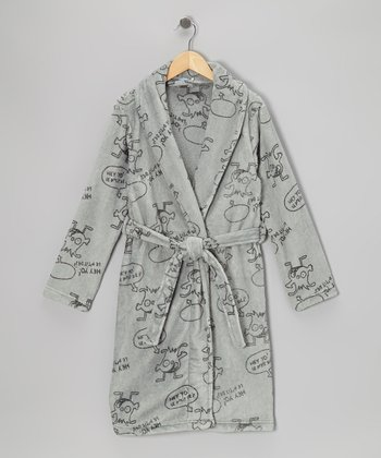 Gray Animated Robe - Kids