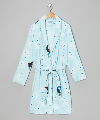 Light Blue Critter Robe - Kids