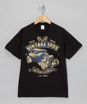 Black 'Vintage Iron' Tee - Toddler & Boys