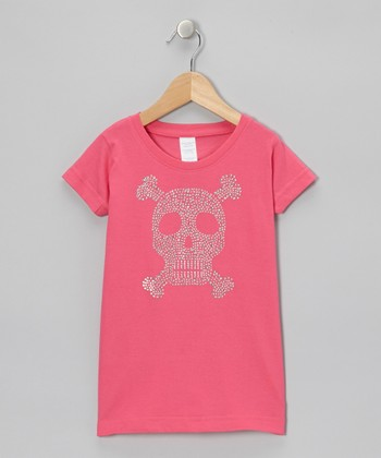 Hot Pink Skull Rhinestone Tee - Toddler & Girls