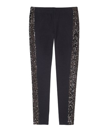 Black Sequin Leggings - Girls