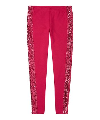 Cerise Sequin Leggings - Girls
