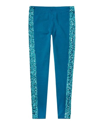 Dark Teal Sequin Leggings - Girls