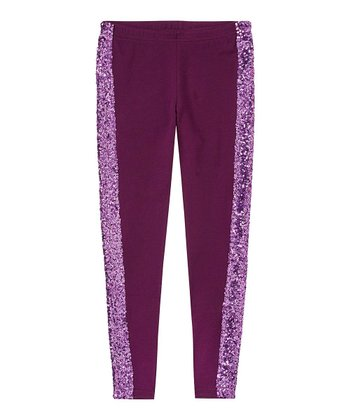Eggplant Sequin Leggings - Girls