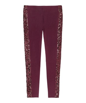 Mulled Wine Sequin Leggings - Girls