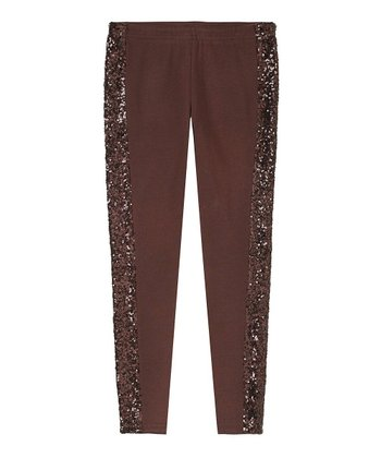 Chocolate Sequin Leggings - Girls
