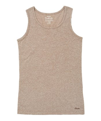 Nut Brown Solid Tank - Girls
