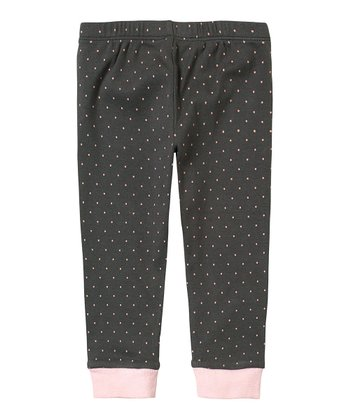 Iron Gray Polka Dot Leggings - Infant
