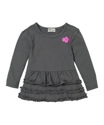 Iron Gray Tiered Ruffle Tunic - Infant