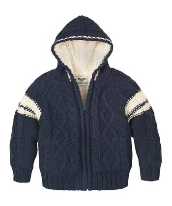 Navy Cable-Knit Zip-Up Hoodie - Infant