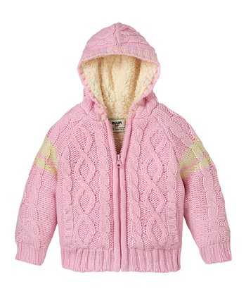 Pink Lady Cable-Knit Zip-Up Hoodie - Infant