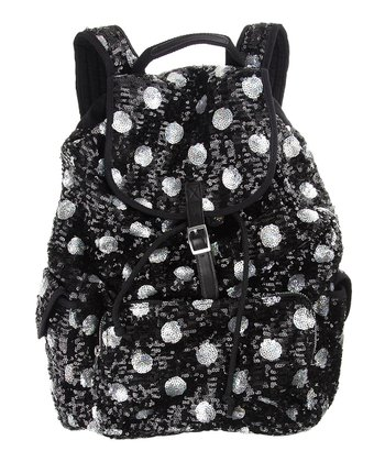 Black Sequin Polka Dot Backpack