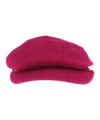 Cerise Wool Cabbie Hat