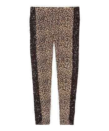 Salted Caramel Leopard Tux Leggings - Girls