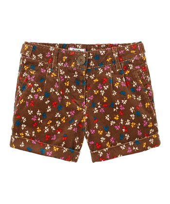 Nut Brown Floral Corduroy Shorts - Girls