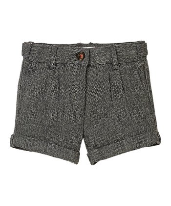 Black Lurex Herringbone Wool Shorts - Girls