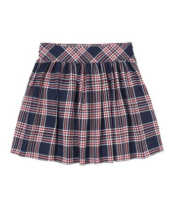 Navy Plaid Pleated Skirt - Girls