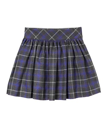 Heather Gray Plaid Pleated Skirt - Girls