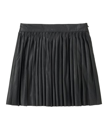Black Faux Leather Moto Skirt - Girls