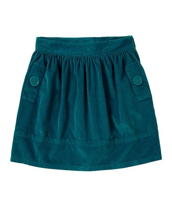 Dark Teal Corduroy Skirt - Girls