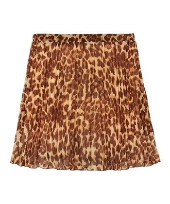 Tan Leopard Pleated Skirt - Girls