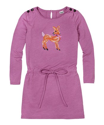 Parma Violet Glitter Deer Dress - Girls
