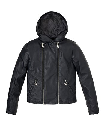 Black Double-Zip Motorcycle Jacket - Girls