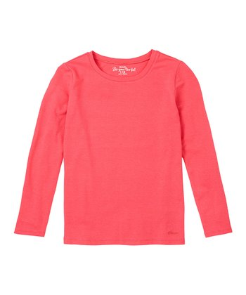 Bright Rose Long-Sleeve Tee - Girls