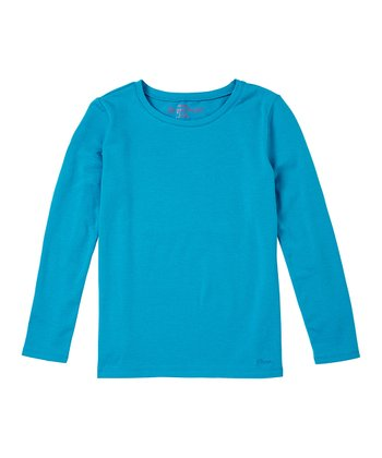 Deep Turquoise Long-Sleeve Tee - Girls