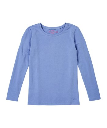 Muted Periwinkle Long-Sleeve Tee - Girls