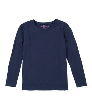 Navy Long-Sleeve Tee - Girls