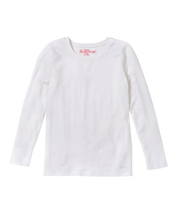 White Long-Sleeve Tee - Girls